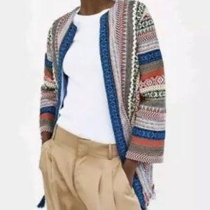 Zara Embroidered Striped Ethnic Kimono Jacket